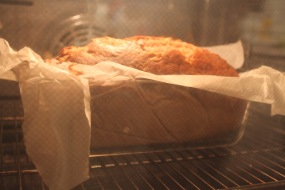 banana bread in oven